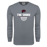 Charcoal Long Sleeve T Shirt-Basketball Net Design