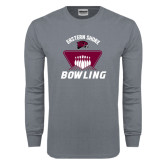 Charcoal Long Sleeve T Shirt-Bowling Pins Design