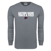 Charcoal Long Sleeve T Shirt-Track and Field Stacked
