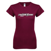Next Level Ladies SoftStyle Junior Fitted Maroon Tee-Bowling