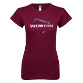 Next Level Ladies SoftStyle Junior Fitted Maroon Tee-Baseball Seams Stacked Design