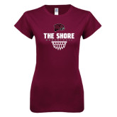 Next Level Ladies SoftStyle Junior Fitted Maroon Tee-Basketball Net Design