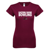 Next Level Ladies SoftStyle Junior Fitted Maroon Tee-Bowling Stacked