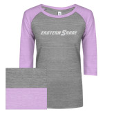ENZA Ladies Athletic Heather/Violet Vintage Baseball Tee-Eastern Shore Glitter