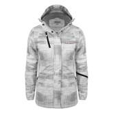 Ladies White Brushstroke Print Insulated Jacket-Primary Mark