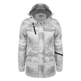 Ladies White Brushstroke Print Insulated Jacket-Eastern Shore