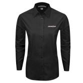 Ladies Black Tonal Pattern Long Sleeve Shirt-Eastern Shore