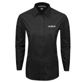 Ladies Black Tonal Pattern Long Sleeve Shirt-The Shore