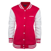 Ladies Pink Raspberry Fleece Letterman Jacket-Primary Mark