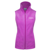 Columbia Ladies Full Zip Fuchsia Fleece Vest-Primary Mark