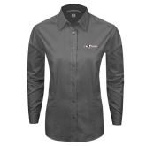 Ladies Grey Tonal Pattern Long Sleeve Shirt-The Shore