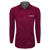 Ladies Maroon Twill Button Down Long Sleeve-Eastern Shore