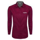 Ladies Maroon Twill Button Down Long Sleeve-The Shore