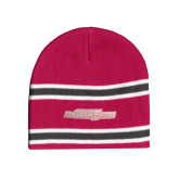 Pink/Graphite/White Striped Knit Beanie-Primary Mark