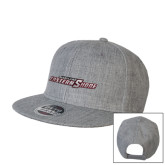 Heather Grey Wool Blend Flat Bill Snapback Hat-Primary Mark