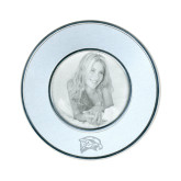Silver Two Tone Small Round Photo Frame-Hawk Head Engraved