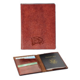 Fabrizio Brown RFID Passport Holder-Hawk Head Engraved