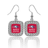 Crystal Studded Square Pendant Silver Dangle Earrings-Informal Logo