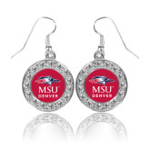 Crystal Studded Round Pendant Silver Dangle Earrings-Informal Logo