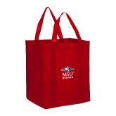 Non Woven Red Grocery Tote-Informal Logo