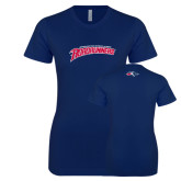 Next Level Ladies SoftStyle Junior Fitted Navy Tee-MSU Roadrunners