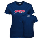 Ladies Navy T Shirt-Roadrunners with Head