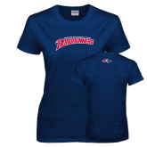 Ladies Navy T Shirt-MSU Roadrunners