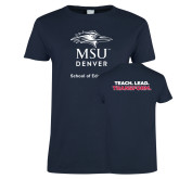Ladies Navy T Shirt-School of Education Stacked
