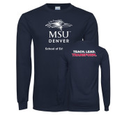 Navy Long Sleeve T Shirt-School of Education Stacked