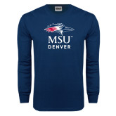 Navy Long Sleeve T Shirt-Informal Logo