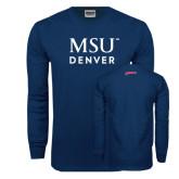 Navy Long Sleeve T Shirt-MSU Denver Word Mark