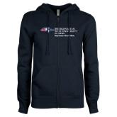 ENZA Ladies Navy Fleece Full Zip Hoodie-Department of Social Work
