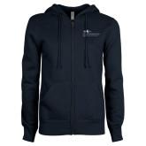 ENZA Ladies Navy Fleece Full Zip Hoodie-School of Education Full Color