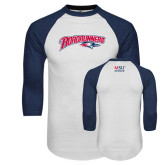 White/Navy Raglan Baseball T-Shirt-Roadrunners with Head