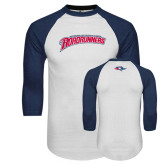 White/Navy Raglan Baseball T-Shirt-MSU Roadrunners