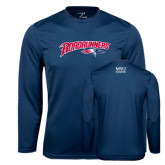 Performance Navy Longsleeve Shirt-Roadrunners with Head
