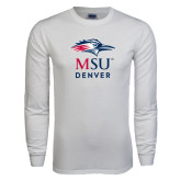 White Long Sleeve T Shirt-Informal Logo