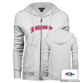 ENZA Ladies White Fleece Full Zip Hoodie-MSU Roadrunners