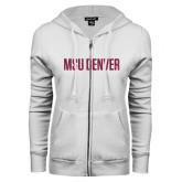 ENZA Ladies White Fleece Full Zip Hoodie-MSU Denver Glitter Hot Pink Glitter