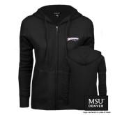 ENZA Ladies Black Fleece Full Zip Hoodie-Roadrunners with Head