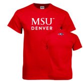 Red T Shirt-MSU Denver Word Mark