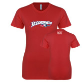 Next Level Ladies SoftStyle Junior Fitted Red Tee-Roadrunners with Head