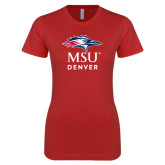 Next Level Ladies SoftStyle Junior Fitted Red Tee-Informal Logo