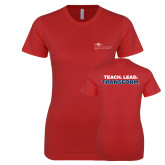 Next Level Ladies SoftStyle Junior Fitted Red Tee-School of Education Flat