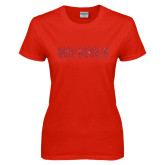 Ladies Red T Shirt-MSU Denver Glitter Red Glitter