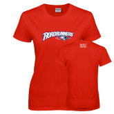 Ladies Red T Shirt-Roadrunners with Head
