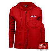 ENZA Ladies Red Fleece Full Zip Hoodie-Roadrunners with Head