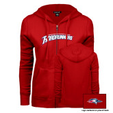 ENZA Ladies Red Fleece Full Zip Hoodie-MSU Roadrunners