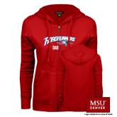 ENZA Ladies Red Fleece Full Zip Hoodie-Dad