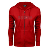 ENZA Ladies Red Fleece Full Zip Hoodie-MSU Denver Glitter Red Glitter